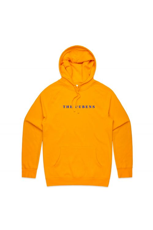 Gold hoodie w/ blue embroidery by The Rubens