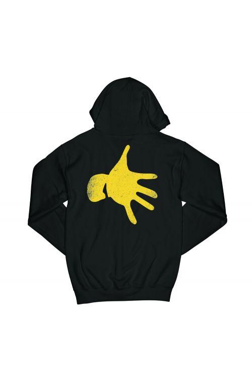 Hand Print Black Zip Hoodie by Midnight Oil