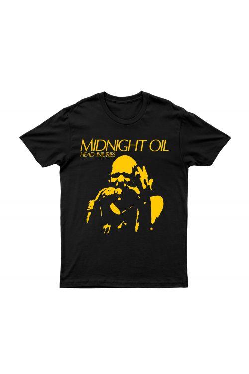 Head Injuries Black Tshirt by Midnight Oil