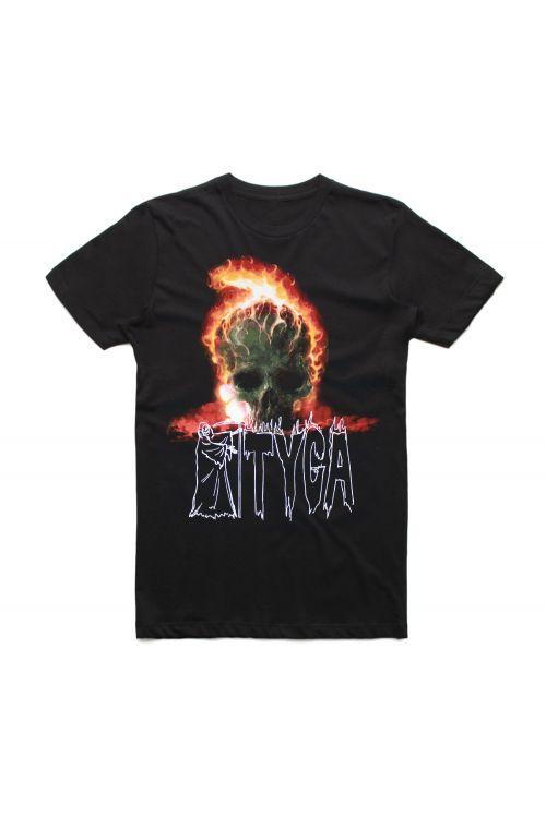 Skull On Fire Black Tshirt by Tyga