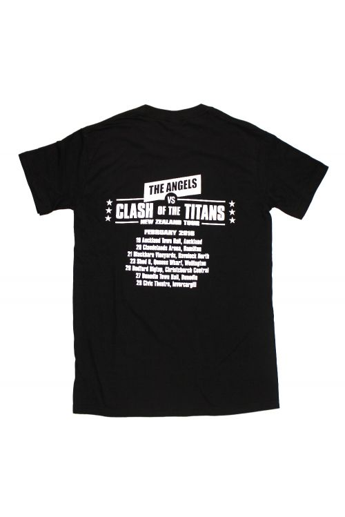 Classic Logo/Clash of Titans NZ Tour Black Tshirt by The Angels