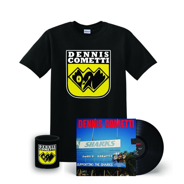 Dennis Cometti Self Titled Vinyl(Black)/WAFL Black Tee/Stubby