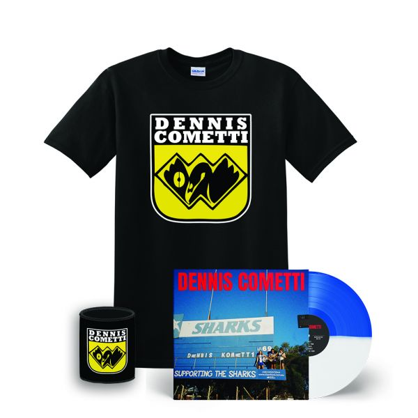 Dennis Cometti Self Titled Vinyl(Blue/White)/WAFL Black Tee/Stubby