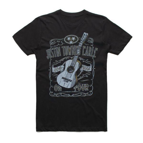 Guitar 100% Proof Black Tshirt