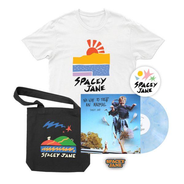 No Way To Treat An Animal (EP) Vinyl V2 Blue/White Marble+Beach Sun White Tshirt, Star House Black Tote, Logo Pin + Shapes Sticker