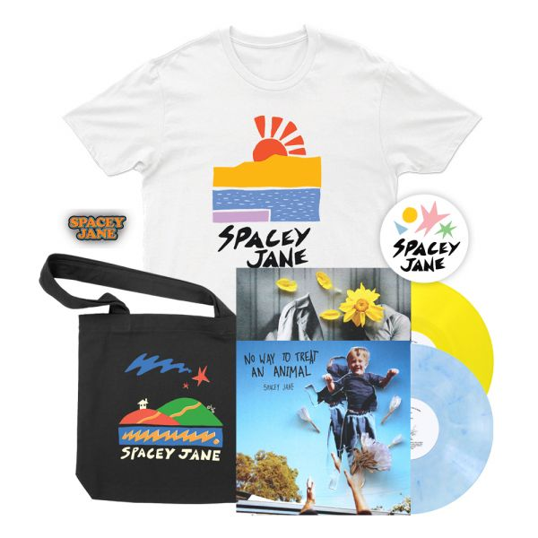 """No Way To Treat An Animal (EP) 10"""" V2 Blue/White Marble Vinyl+ In The Slight (EP) 10"""" Solid Yellow Vinyl + Beach Sun White Tshirt, Star House Black Tote, Logo Pin + Shapes Sticker"""