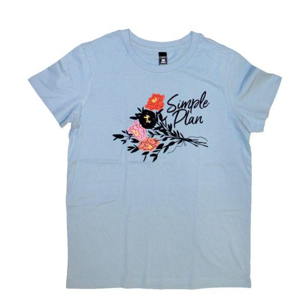 Flowers Light Blue Girls Tshirt