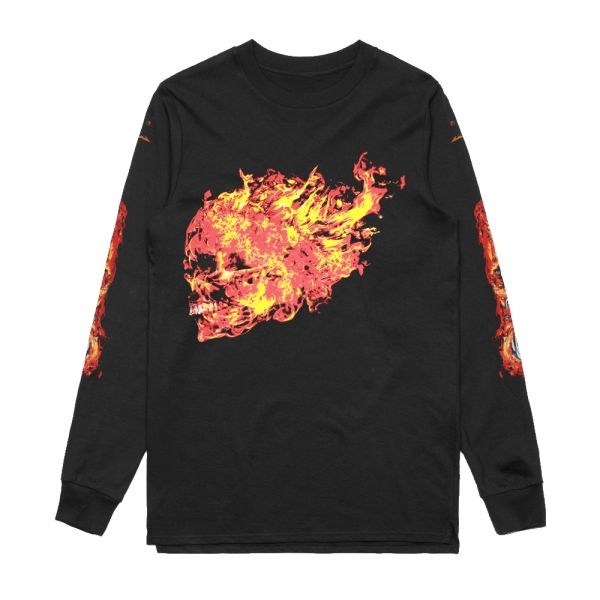 Flaming Skull Black Longsleeve Tshirt
