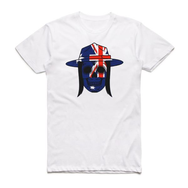White Skull Aussie Tshirt